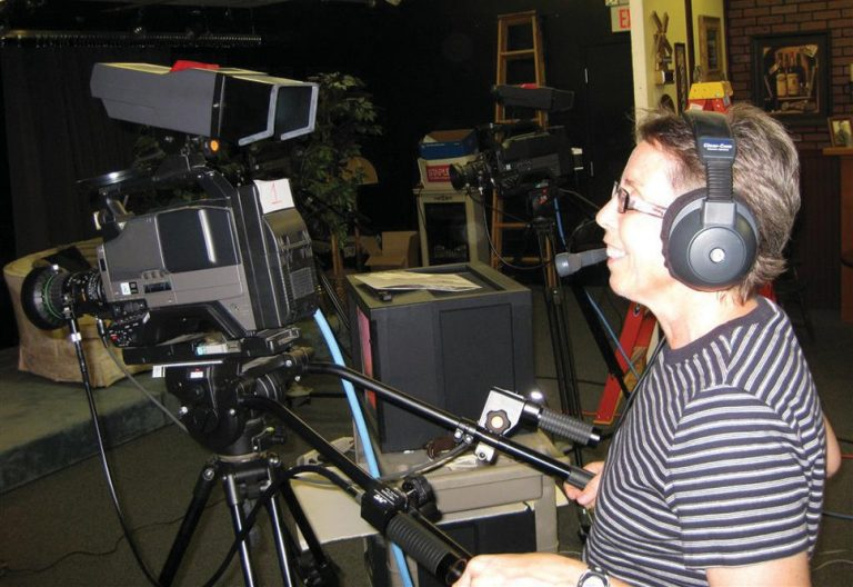 Producer Cindy Bissell during a production of an episode of Rubber Duck Theater.